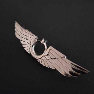 üzerinde kanatlar ve ay yıldız olan gümüş renkli rozet