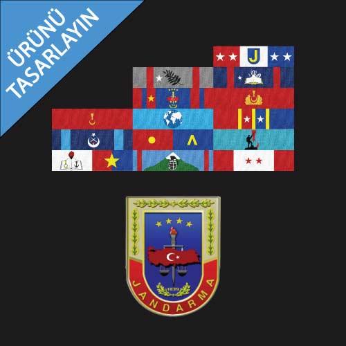 üzerinde jandarma şerit rozeti ve jandarma logosu olan temsili ürün görseli
